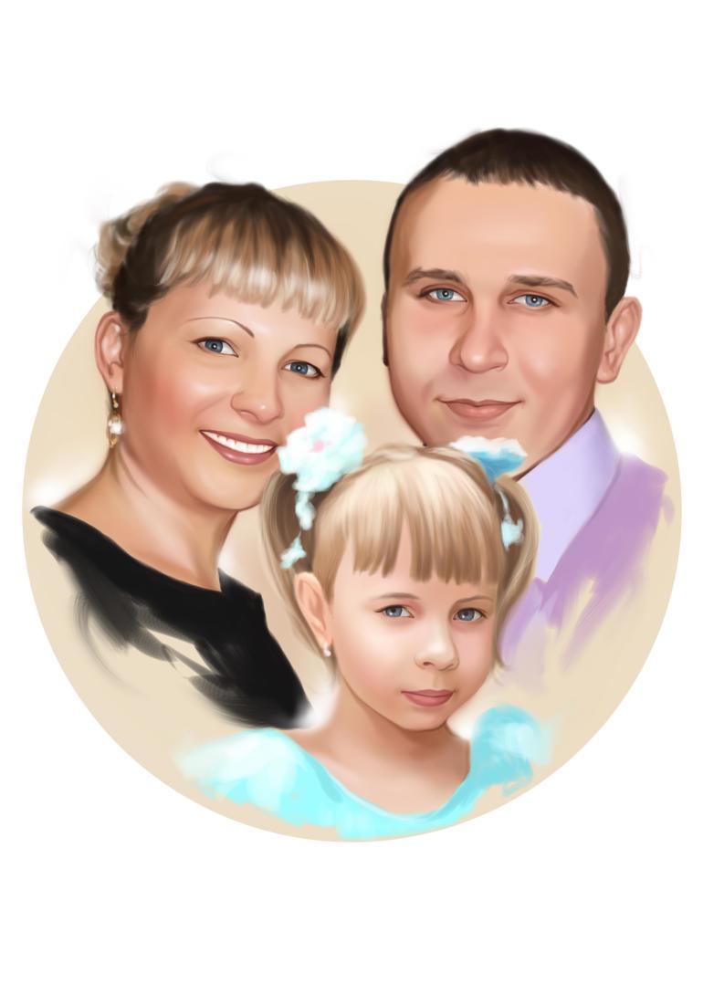 Семейный портрет по фото на холсте в Ставрополе — правильный подарок!