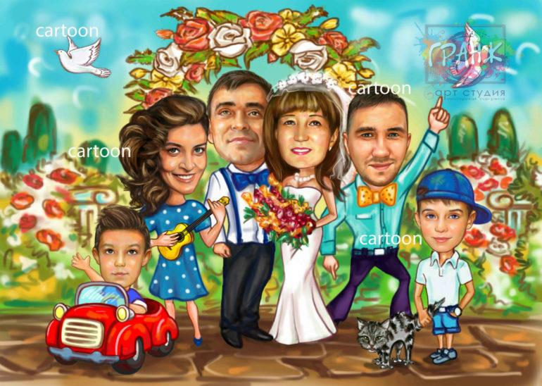 Шарж по фото на годовщину свадьбы на заказ в Ставрополе…